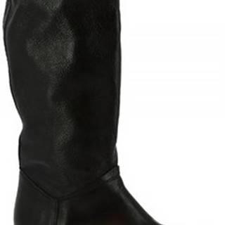 Leonardo Shoes Kozačky K609 ANTIK NERO Černá