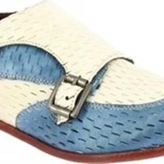 Leonardo Shoes Mokasíny 32903/3 PAPUA CART. ZUCCHERO LINO Modrá