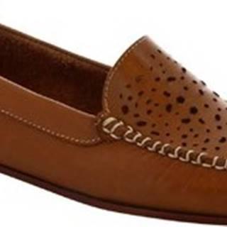 Leonardo Shoes Baleríny 5026 VITELLO CUOIO Hnědá