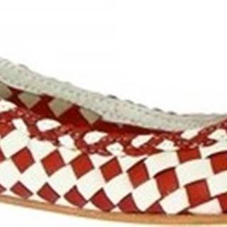 Leonardo Shoes Baleríny GIANNA RED/WHITE Červená