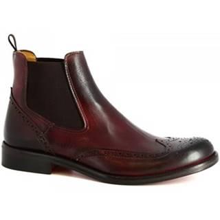 Leonardo Shoes Kotníkové boty T030 SIVIGLIA BORDO Červená