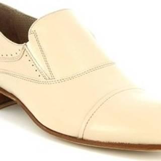 Leonardo Shoes Mokasíny 34530-E F. 345 CUOIO FILETTO NATURALE Bílá