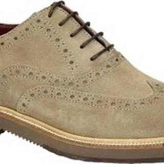 Leonardo Shoes Šněrovací polobotky 852-17 CAMOSCIO FANGO Béžová