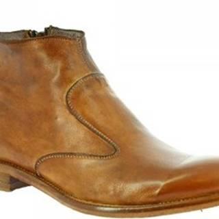 Leonardo Shoes Kotníkové boty 34302/4 PAPUA CUOIO Hnědá