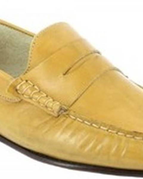Žluté mokasíny Leonardo Shoes