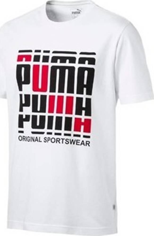 puma Puma Trička s krátkým rukávem Logo Tee Bílá