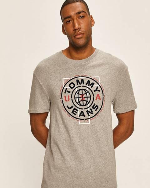 Šedé tričko Tommy Jeans