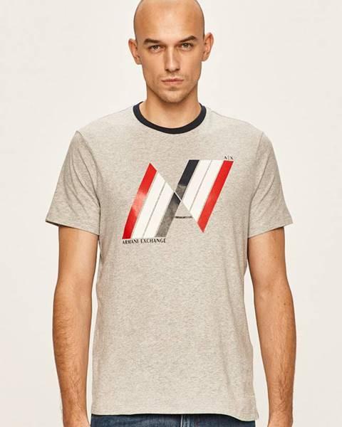 Šedé tričko Armani Exchange