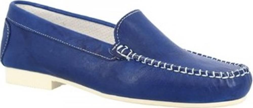 Leonardo Shoes Mokasíny 318 STROPICCIATO COBALTO GOMMA BIANCA Modrá