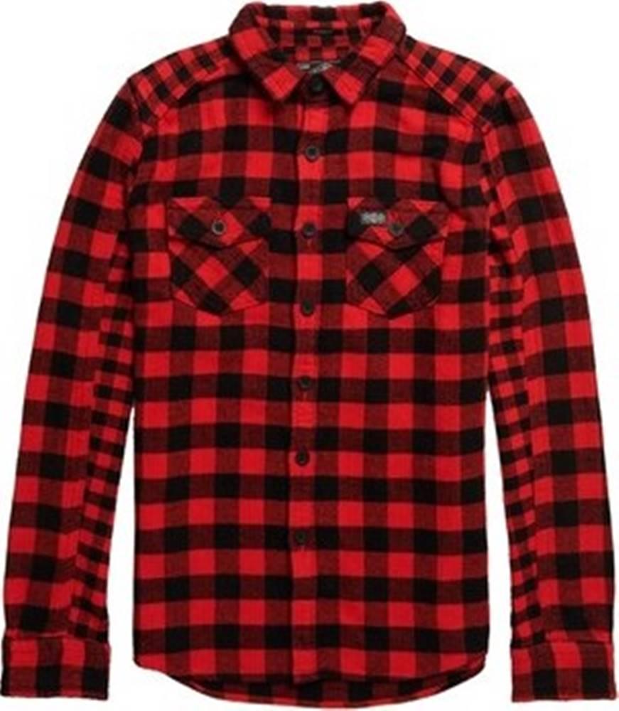 superdry Košile s dlouhymi rukáv M4000001A Červená