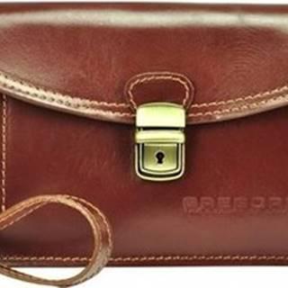 Malé kabelky Hnědá kožená pánská dokladová taška / etue Hnědá