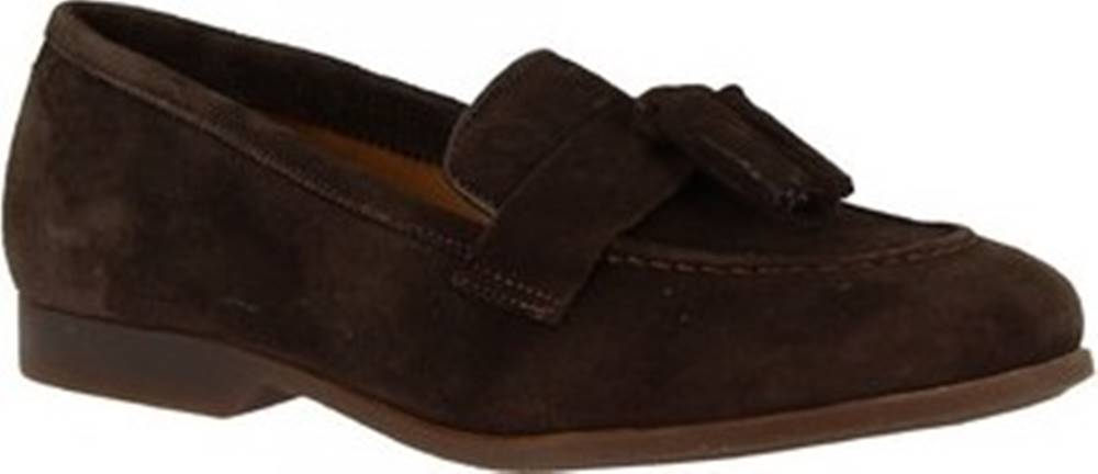 Leonardo Shoes Mokasíny TOR02 VELUR TM Hnědá