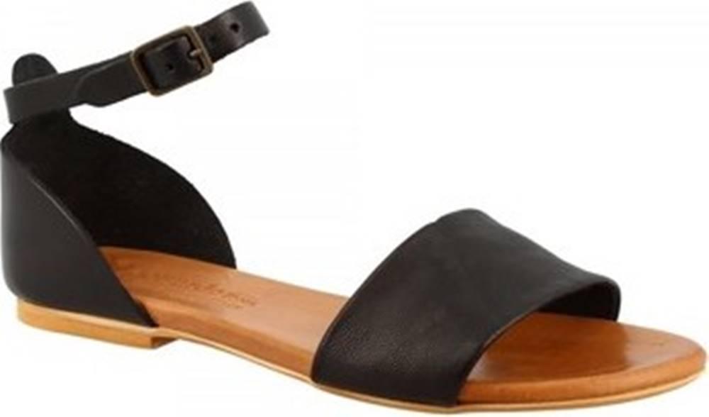 Leonardo Shoes Sandály PC129L CAPRA NERO Černá