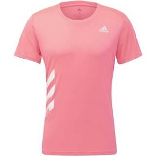 adidas Trička s krátkým rukávem Tričko Run It 3-Stripes PB Růžová