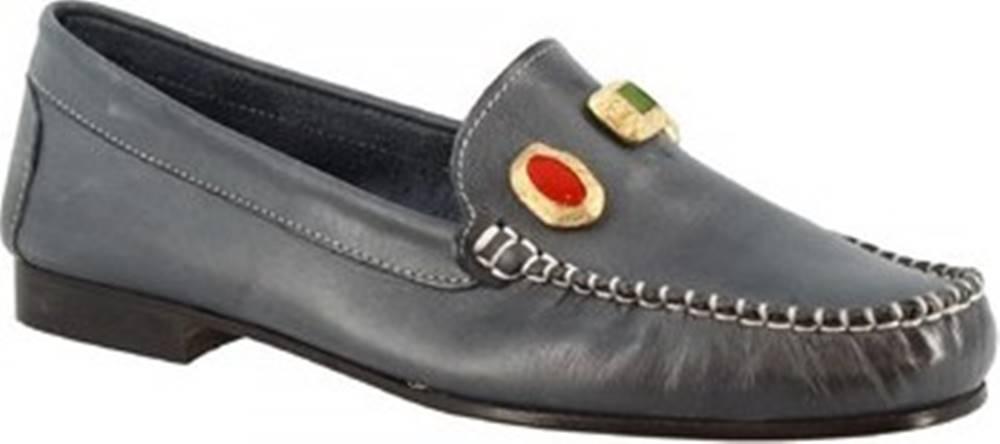 Leonardo Shoes Sandály 558 VITELLO BLU Modrá