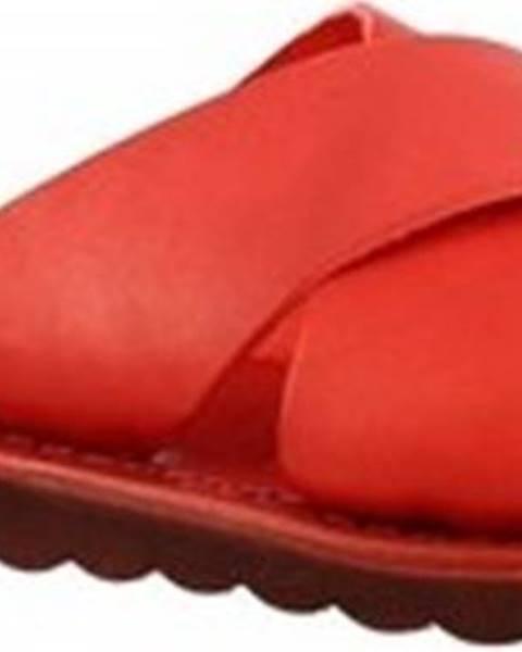 Červené pantofle Leonardo Shoes