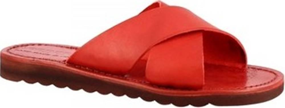 Leonardo Shoes Dřeváky 560 ROSSO Červená