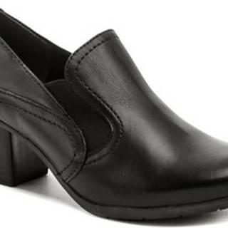 Jana Lodičky 8-24408-25 černé boty na podpatku šíře H Černá