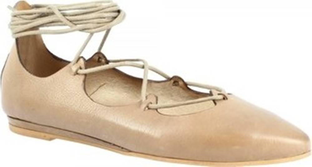 Leonardo Shoes Baleríny Q281 KONS MALVA Béžová