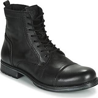 Jack Jones Kotníkové boty JFW RUSSEL LEATHER Černá