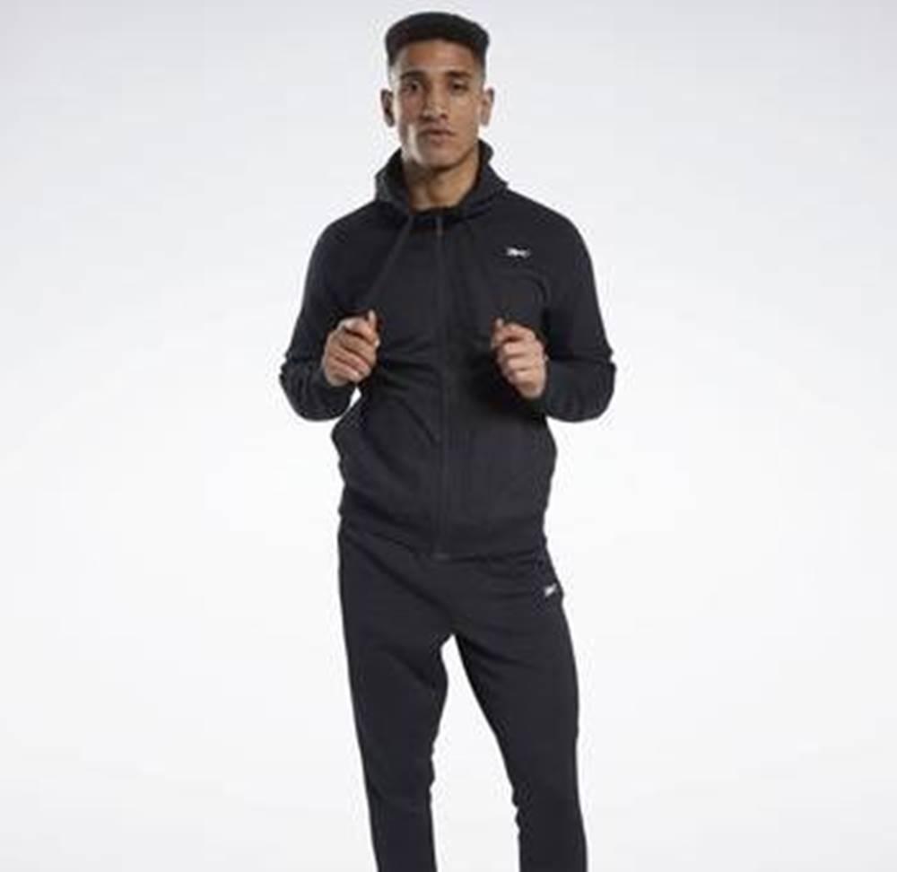 Reebok Sport Svetry Knit-Woven Full-Zip Hoodie Černá