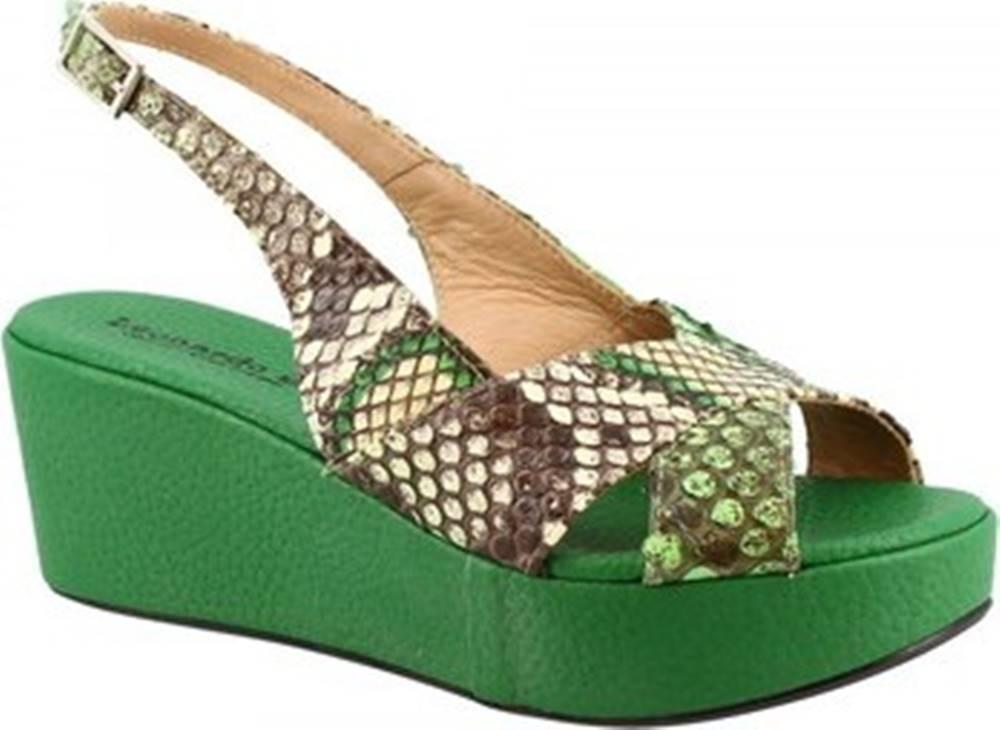 Leonardo Shoes Sandály 3378 TONI PITONE VERDE Zelená